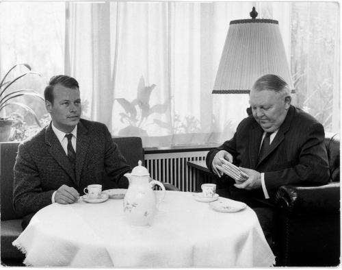 My dad consuming aforementioned tea with his uncle, the chancellor. Don't look so thrilled dad. You're going partying right after.